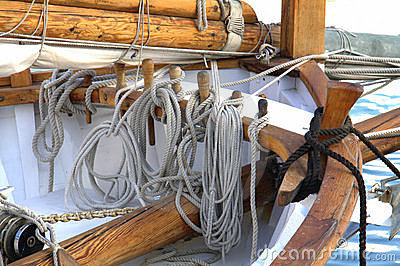 Ropes on sailing ship