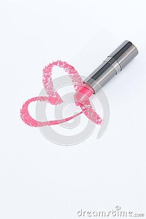 rosa lippenstift herz auf wei buch lizenzfreie stockfotos bild 30733708. Black Bedroom Furniture Sets. Home Design Ideas