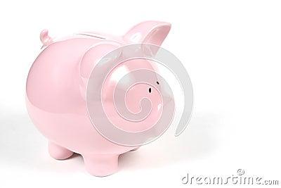 Rosafarbene Piggy Querneigung auf weißem Hintergrund