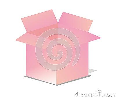 Rosafarbener vektorgeöffneter Kasten