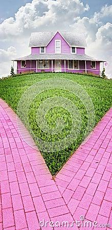 Rosafarbenes Haus