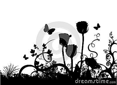 Rosas e vetor da borboleta