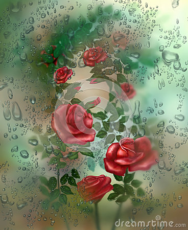 Free Rose Behind The Glass Stock Images - 61303294