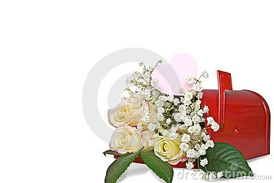 Rose bouquet in red mailbox