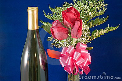 Rose bouquet and wine