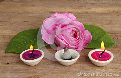 Rose candles and incense