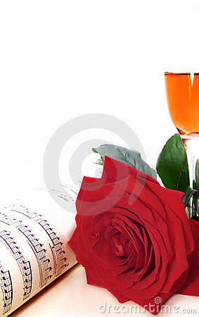 Rose,champagne and music