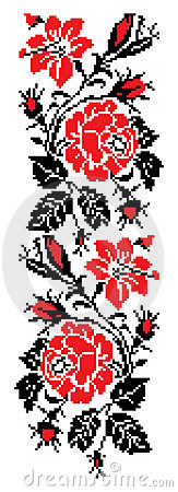 Free Rose Cross Stitch Pattern Royalty Free Stock Photography - 9139387