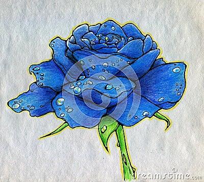 Rose de bleu sur le papier rugueux