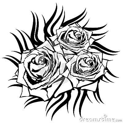 Rose de noir sur le fond blanc image stock image 32846801 - Tattoo rose noir ...