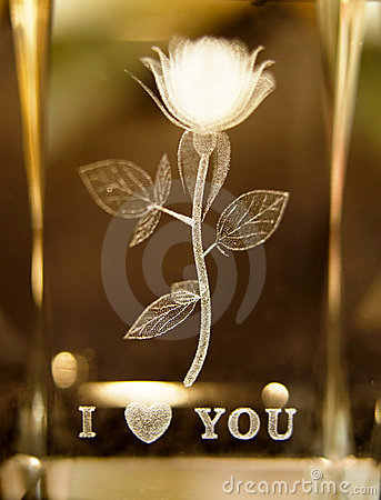 Rose etched in glass