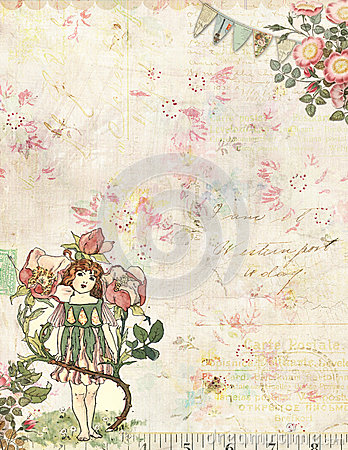 Rose Fairy with flowers vintage background