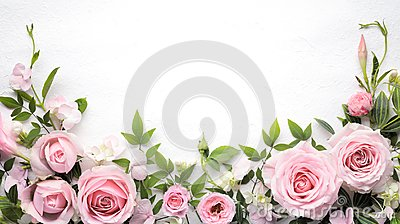 Rose flower with leaves frame Stock Photo