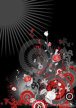 Rose flowers,circles,vector