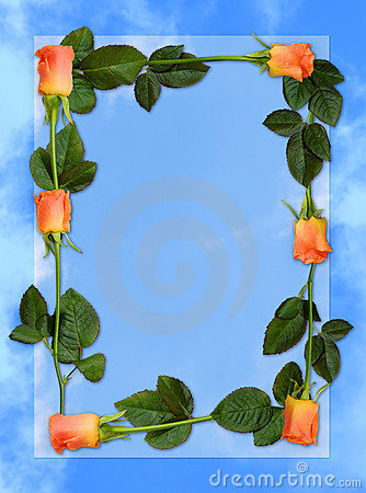 Free Rose Frame Love Letter Blue Paper Background Royalty Free Stock Photography - 688497