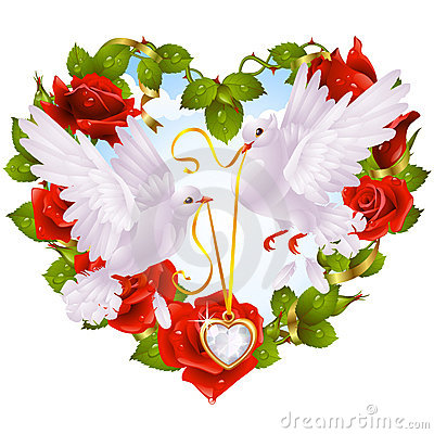 Free Rose Garland In The Shape Of Heart And Couple Dove Royalty Free Stock Photo - 15607395
