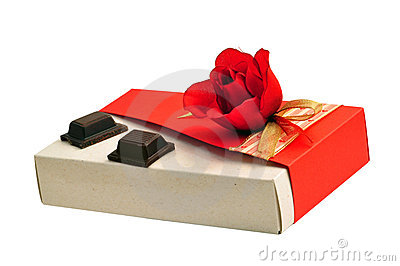 Rose gift box and chocolate