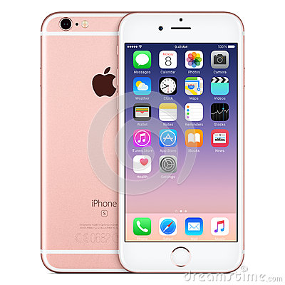 Free Rose Gold Apple IPhone 6s Front View With IOS 9 On The Screen Royalty Free Stock Photo - 65405335
