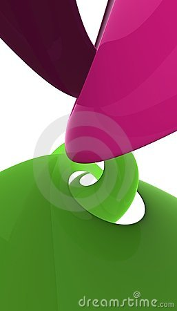 Rose and green plastic spiral polishes and reflecting