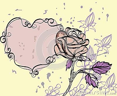 Rose on grunge background