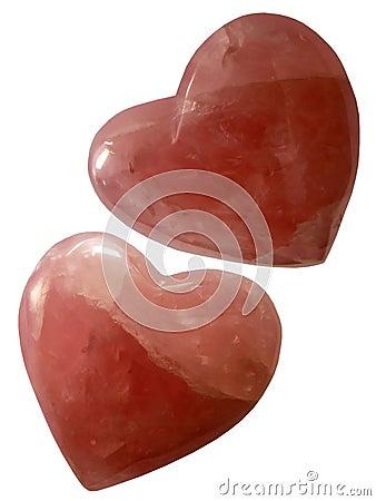 Rose hearts quartz Bohemian ruby