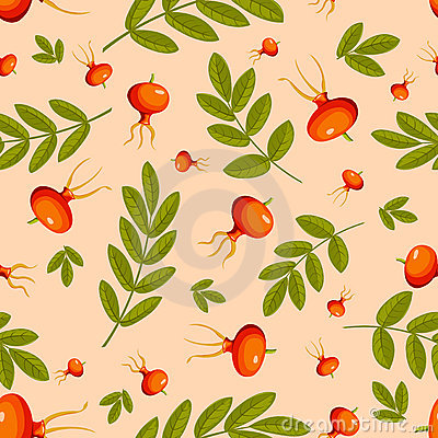 Rose hip seamless beige pattern.