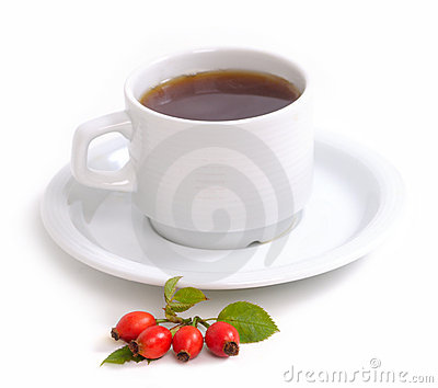 Rose-hips branch and tea