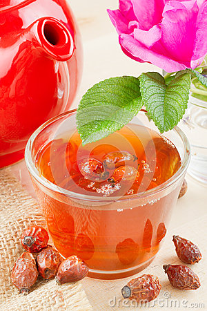 Rose hips tea and rose-hip flowers