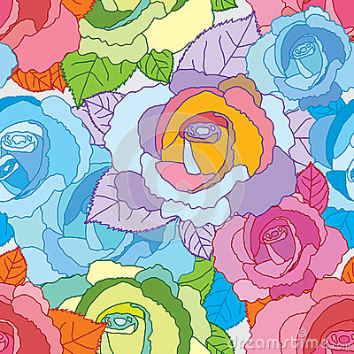 Free Rose Line Colorful Seamless Pattern Stock Photos - 47506033