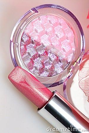 Rose lipstick amd eyshadow