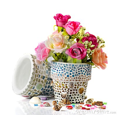 Rose and mosaic flower pot