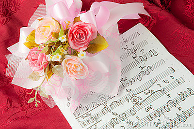 Rose On The Musical Notes Stock Photo - Image: 22870820
