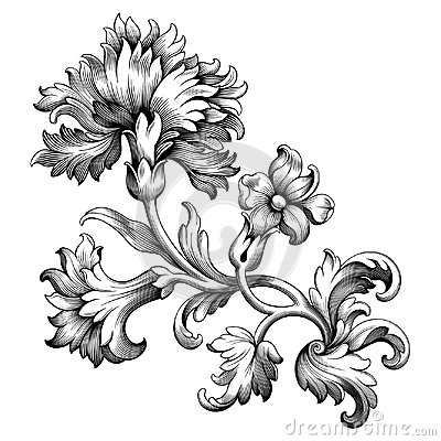 Free Rose Peony Flower Vintage Baroque Victorian Frame Border Floral Ornament Scroll Engraved Retro Pattern Tattoo Filigree Vector Stock Images - 97779724