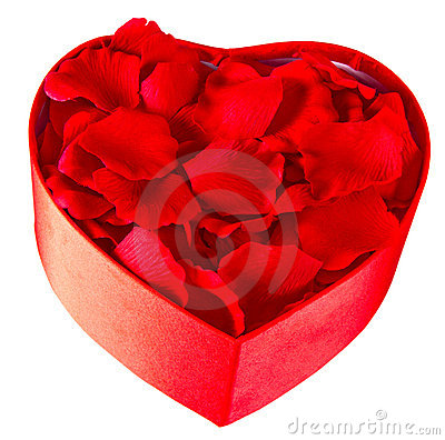 Free Rose Petals In A Heart Shaped Box Royalty Free Stock Photos - 17997958