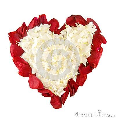 Rose petals in shape of heart