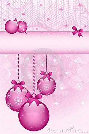 Rose pink christmas balls and bows