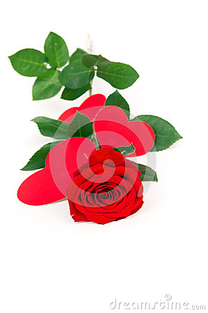 Rose rests with hearts made of paper