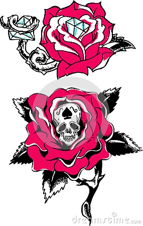 ROSE SKULL DIAMOND TATTOO Rose skull