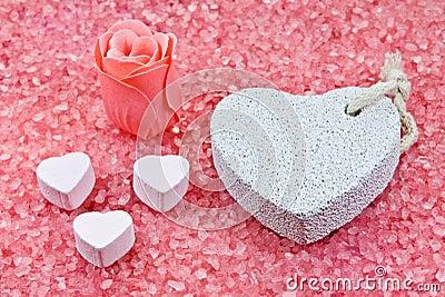 Rose soap, pumice and baths powder.