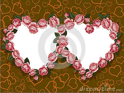 Rose two hearts frame