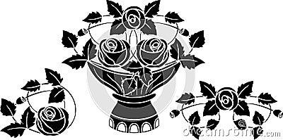 Rose in vase tattoo
