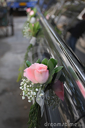 Rose in the wedding car