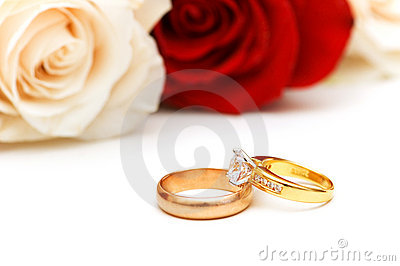 Rose and wedding rings isolated on the white