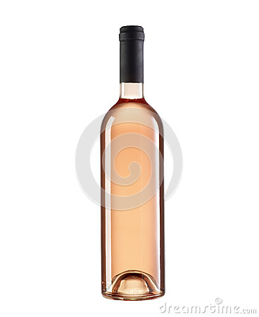 Rose wine bottle without label