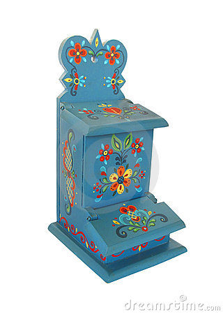 Rosemaling painted matchbox holder isolated.