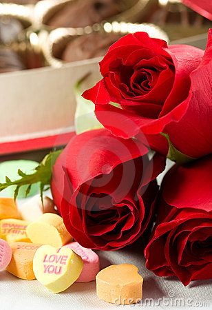 Free Roses And Candy Hearts Stock Image - 12467051