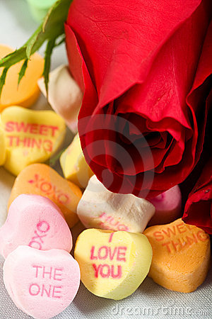 Free Roses And Candy Hearts Royalty Free Stock Images - 12467069