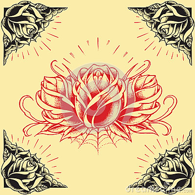 Free Roses And Frame Tattoo Style Design Set 01 Stock Images - 36326244