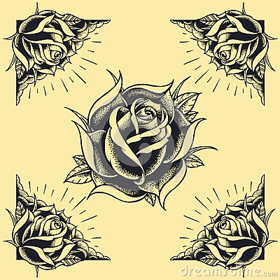 Free Roses And Frame Tattoo Style Design Set 02 Royalty Free Stock Image - 36326456