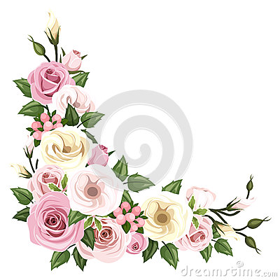 Free Roses And Lisianthus Flowers. Vector Corner Background. Royalty Free Stock Images - 41666759